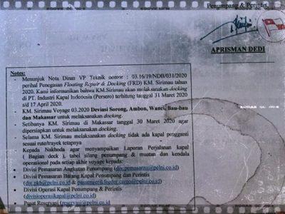 KM Sirimau Docking Mulai 31 Maret 2020